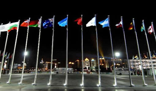 Group Of Flagpoles Installed with Flags. Oklahoma City Flagpoles and Flags.